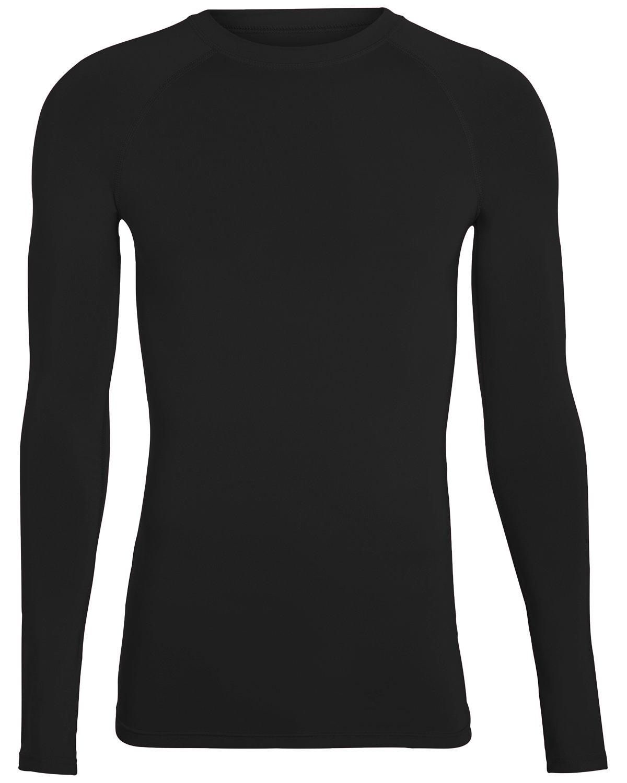 Augusta Drop Ship Adult Hyperform Long-Sleeve Compression Shirt BLACK