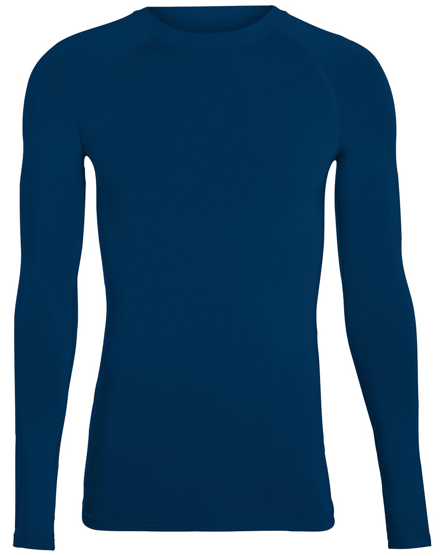 Augusta Drop Ship Adult Hyperform Long-Sleeve Compression Shirt NAVY