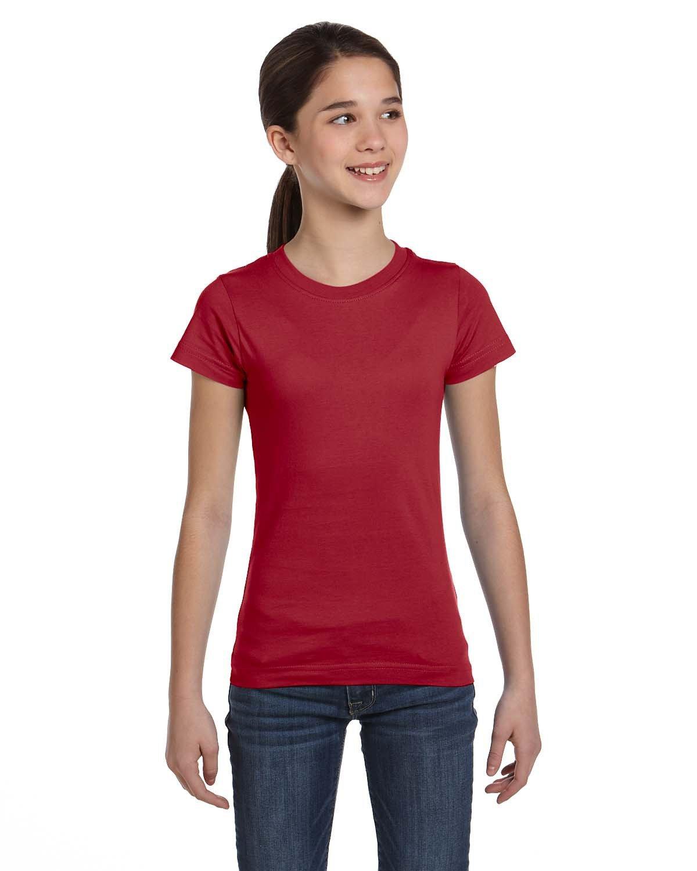 LAT Girls' Fine Jersey T-Shirt GARNET