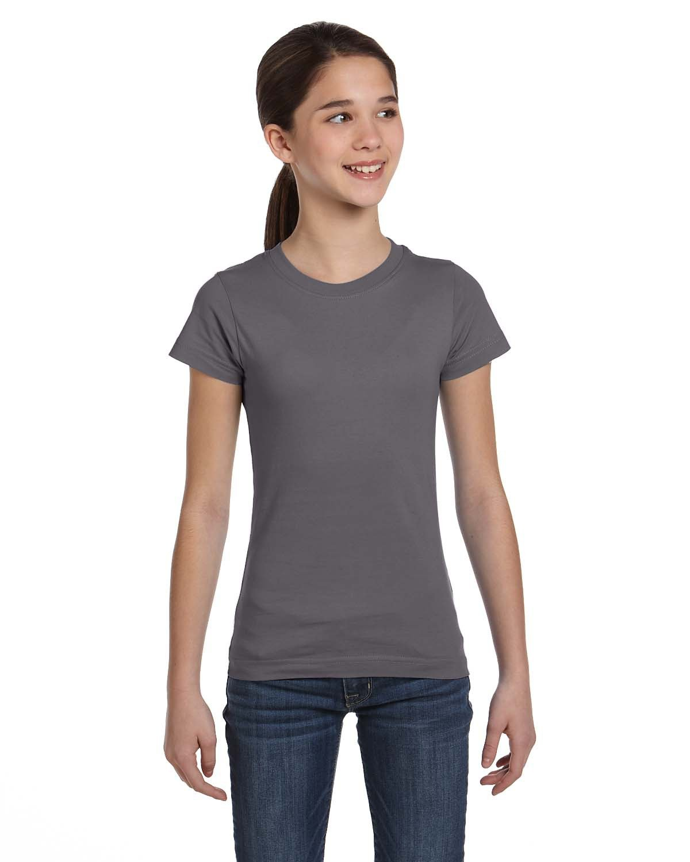 LAT Girls' Fine Jersey T-Shirt CHARCOAL