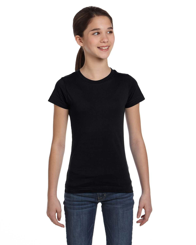 LAT Girls' Fine Jersey T-Shirt BLACK