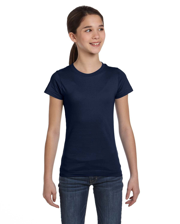 LAT Girls' Fine Jersey T-Shirt NAVY