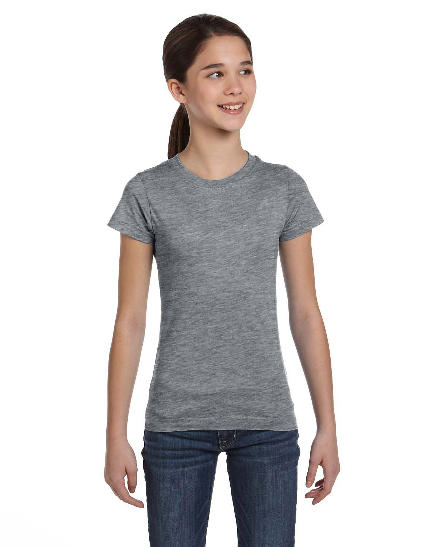 LAT Girls' Fine Jersey T-Shirt GRANITE HEATHER