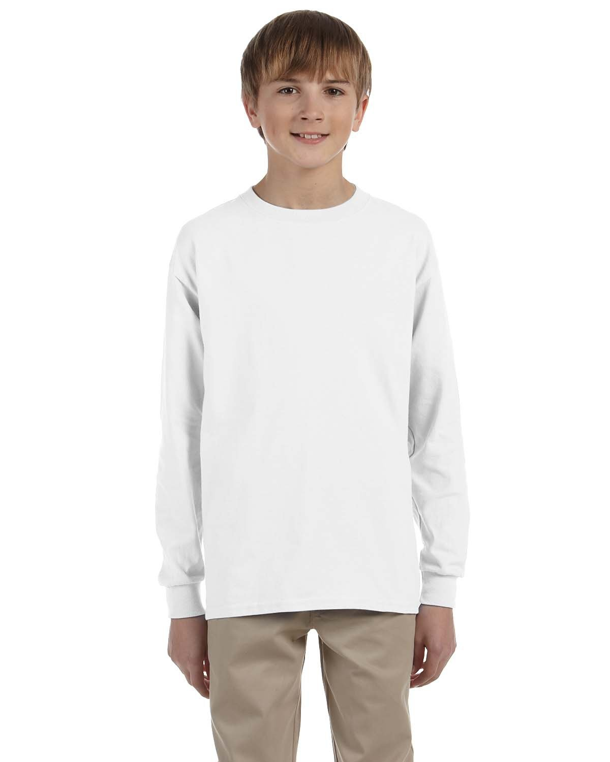 Jerzees Youth DRI-POWER® ACTIVE Long-Sleeve T-Shirt WHITE