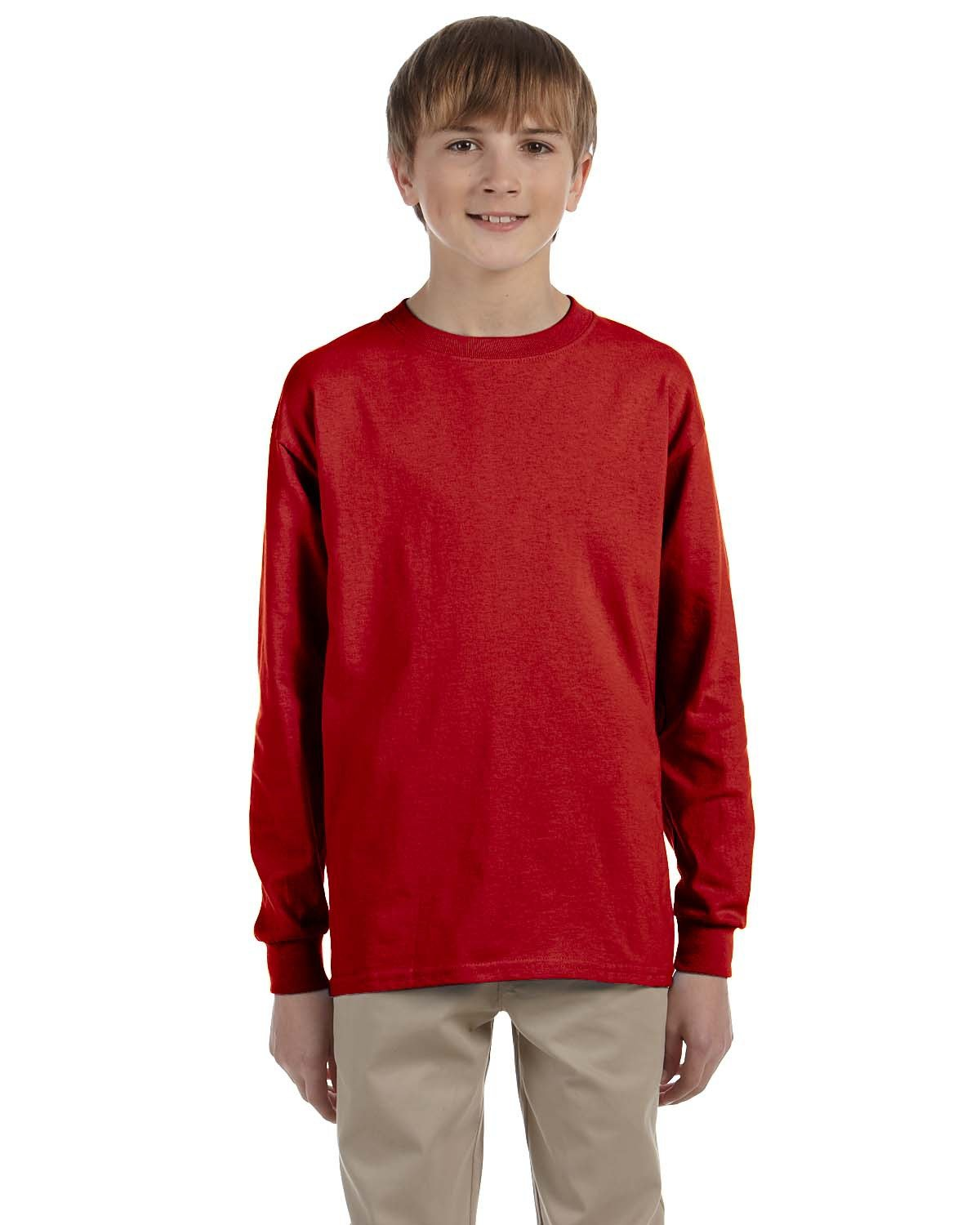 Jerzees Youth DRI-POWER® ACTIVE Long-Sleeve T-Shirt TRUE RED