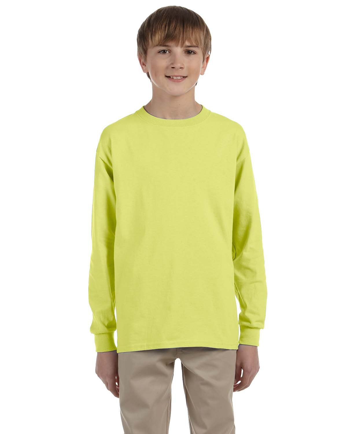 Jerzees Youth DRI-POWER® ACTIVE Long-Sleeve T-Shirt SAFETY GREEN