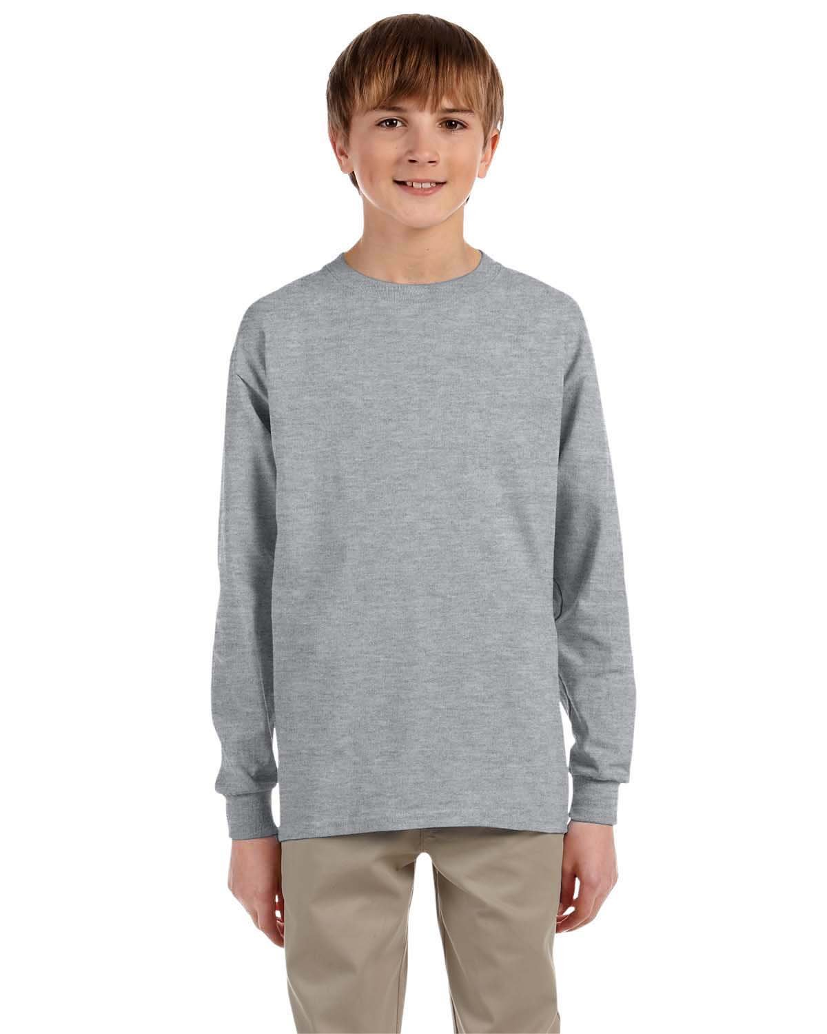 Jerzees Youth DRI-POWER® ACTIVE Long-Sleeve T-Shirt ATHLETIC HEATHER