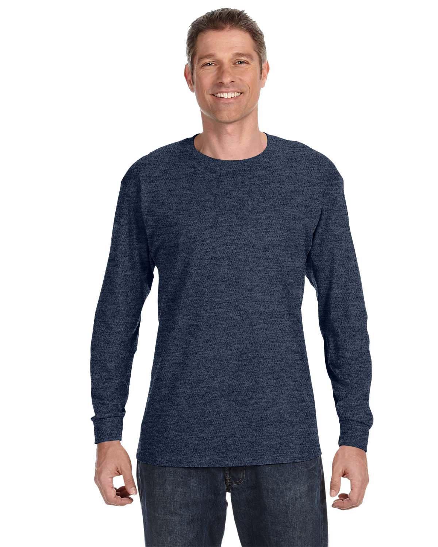 Jerzees Adult DRI-POWER® ACTIVE Long-Sleeve T-Shirt VINT HTHR NAVY