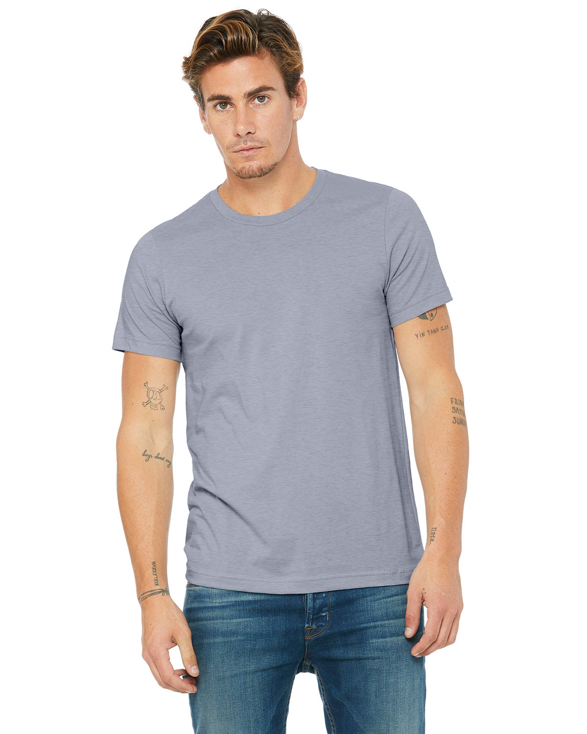 Bella + Canvas Unisex Heather CVC T-Shirt HEATHER BLUE