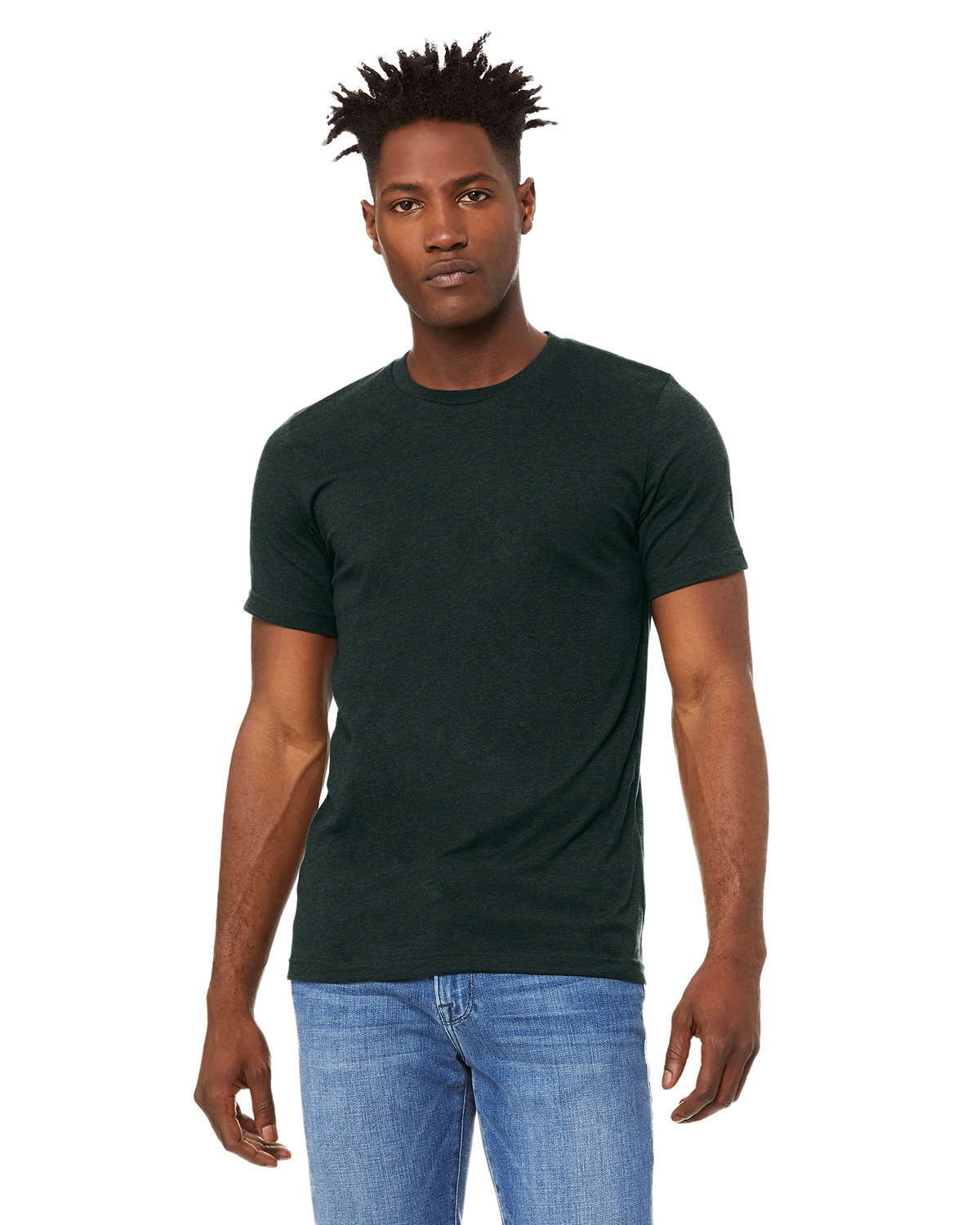 Bella + Canvas Unisex Heather CVC T-Shirt HEATHER EMERALD