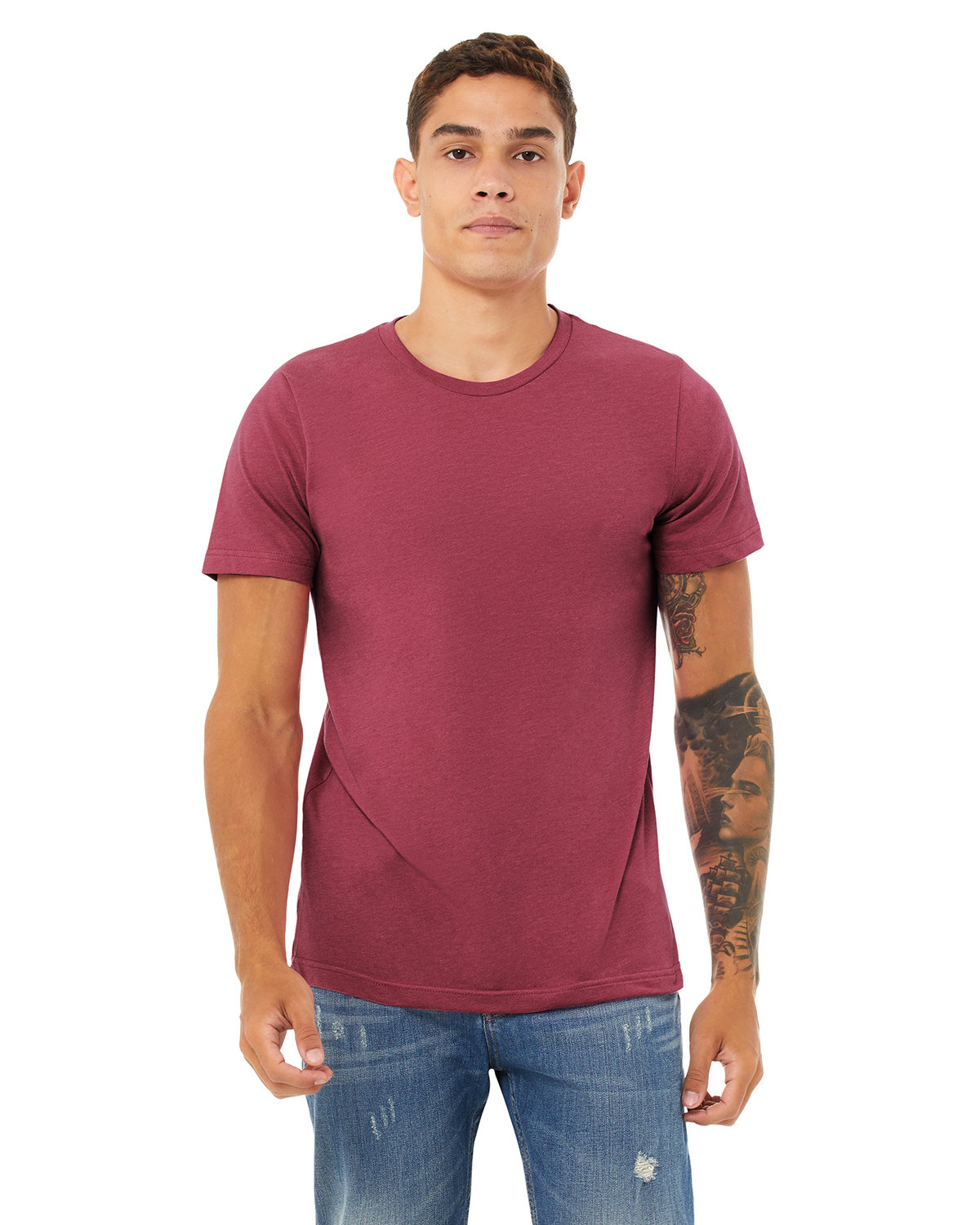 Bella + Canvas Unisex Heather CVC T-Shirt HTHR RASPBERRY