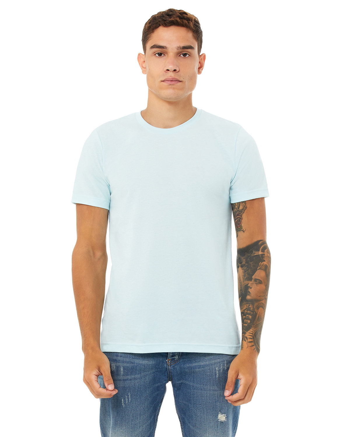 Bella + Canvas Unisex Heather CVC T-Shirt HEATHER ICE BLUE