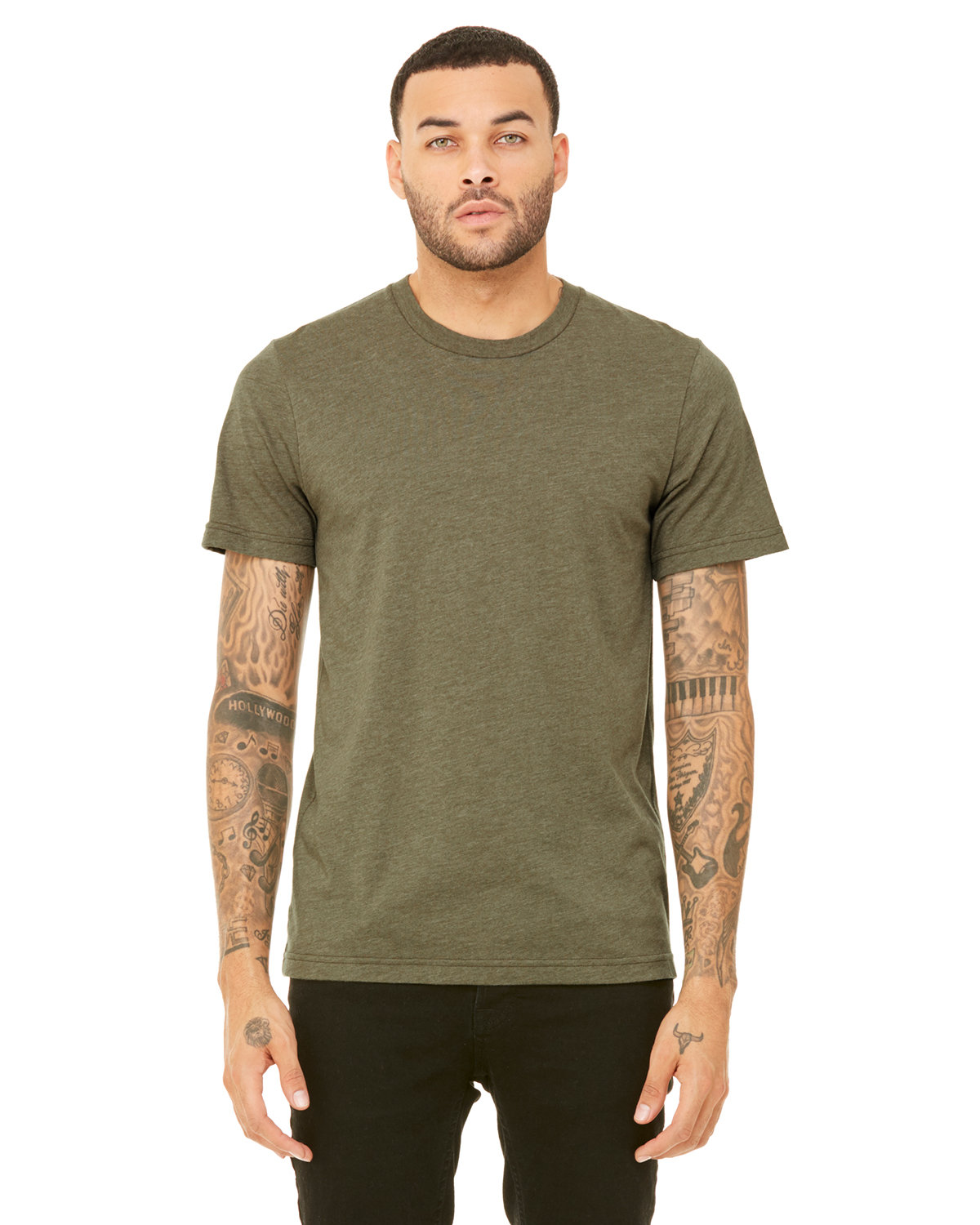 Bella + Canvas Unisex Heather CVC T-Shirt HEATHER OLIVE