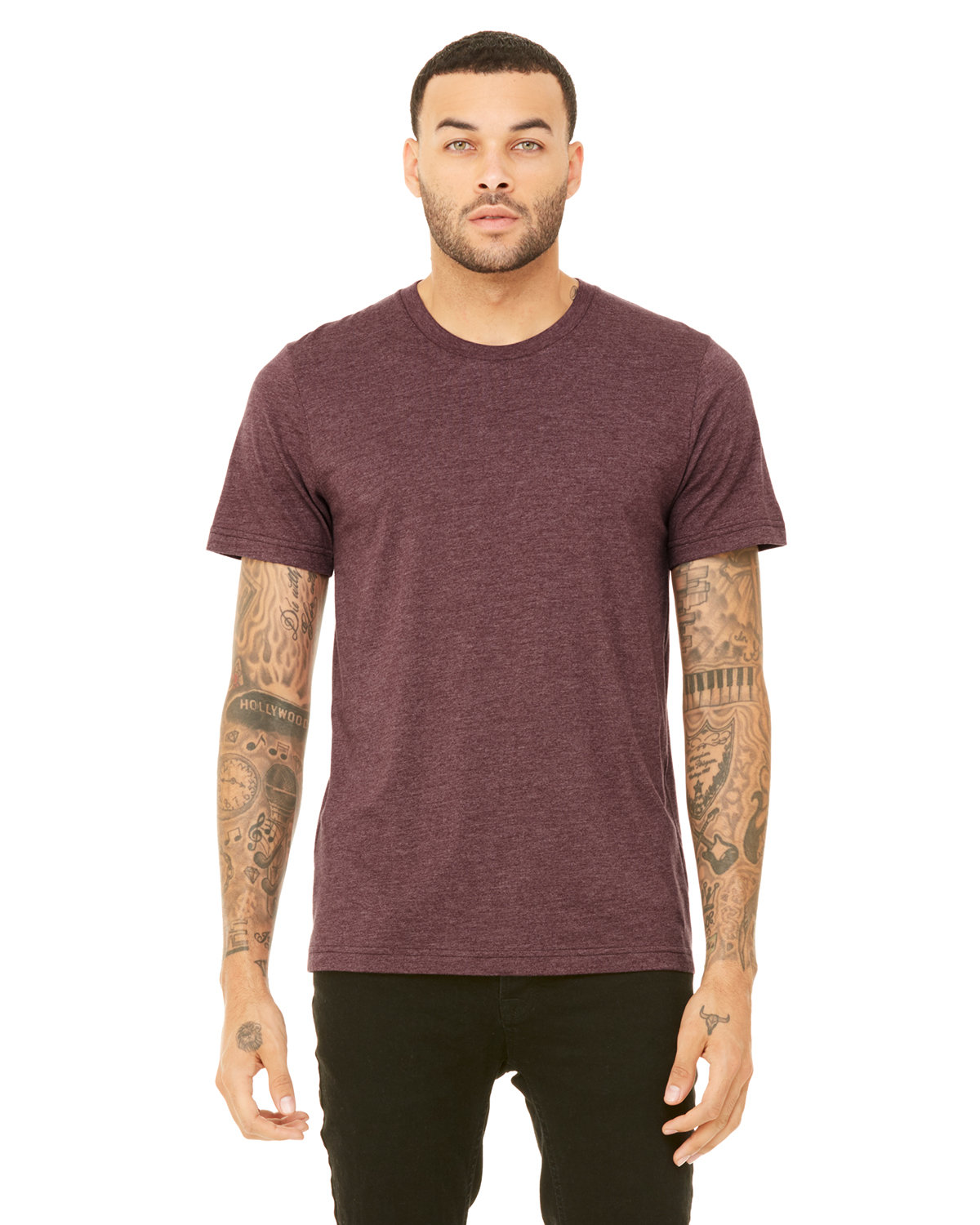 Bella + Canvas Unisex Heather CVC T-Shirt HEATHER MAROON