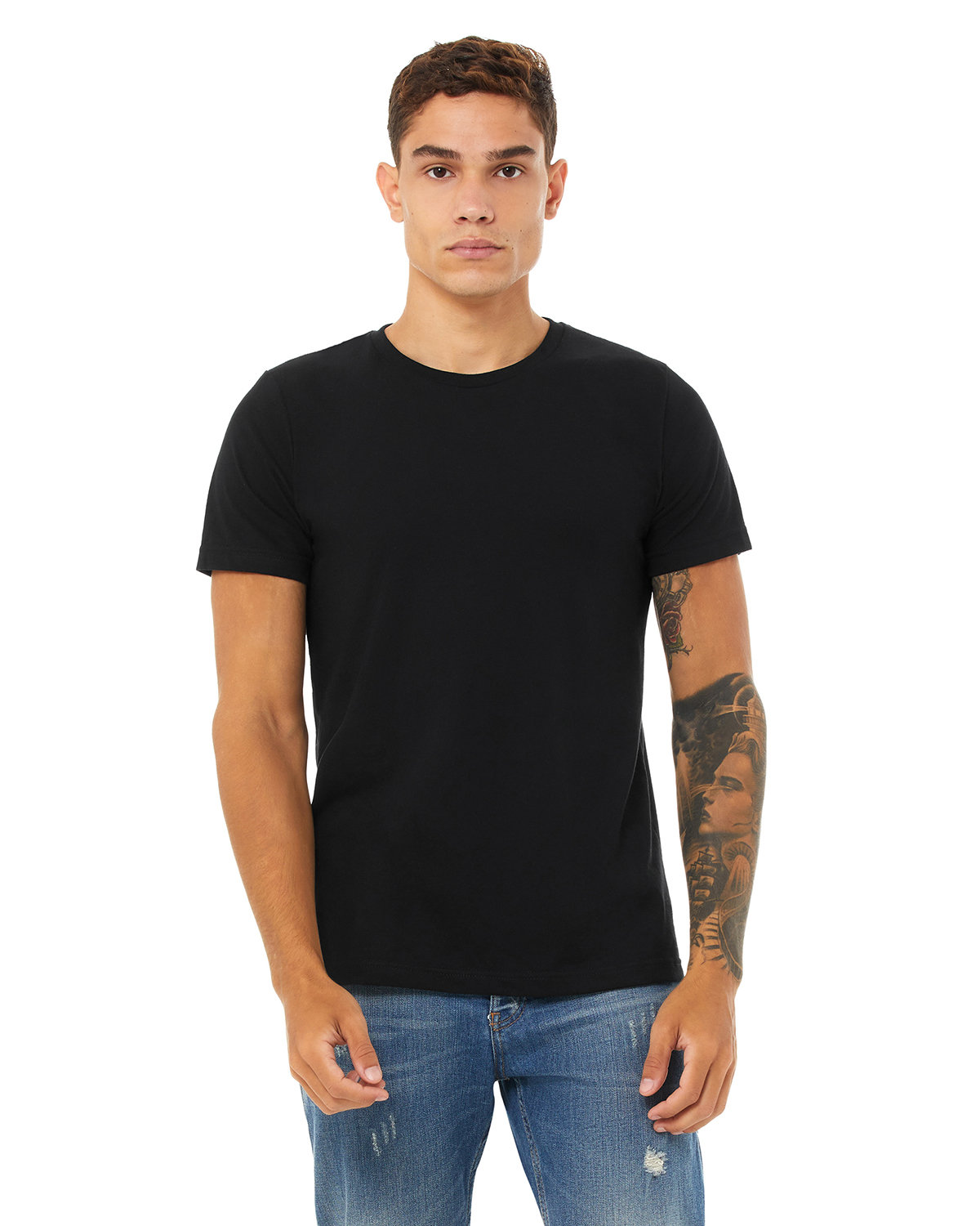 Bella + Canvas Unisex Heather CVC T-Shirt SOLID BLK BLEND