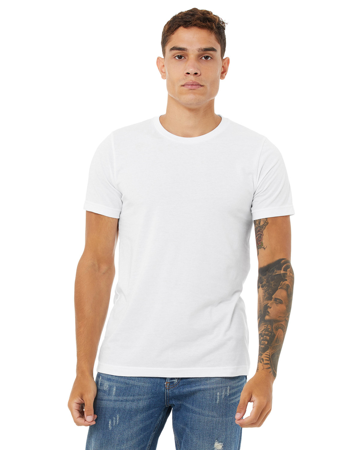 Bella + Canvas Unisex Heather CVC T-Shirt SOLID WHT BLEND