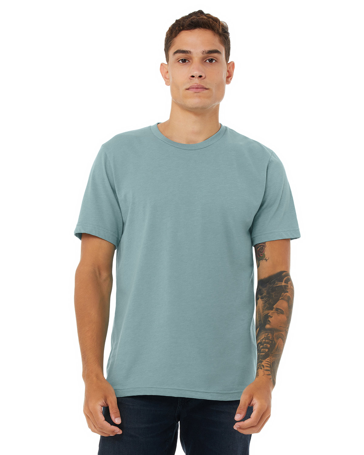 Bella + Canvas Unisex Heather CVC T-Shirt HTHR BLUE LAGOON