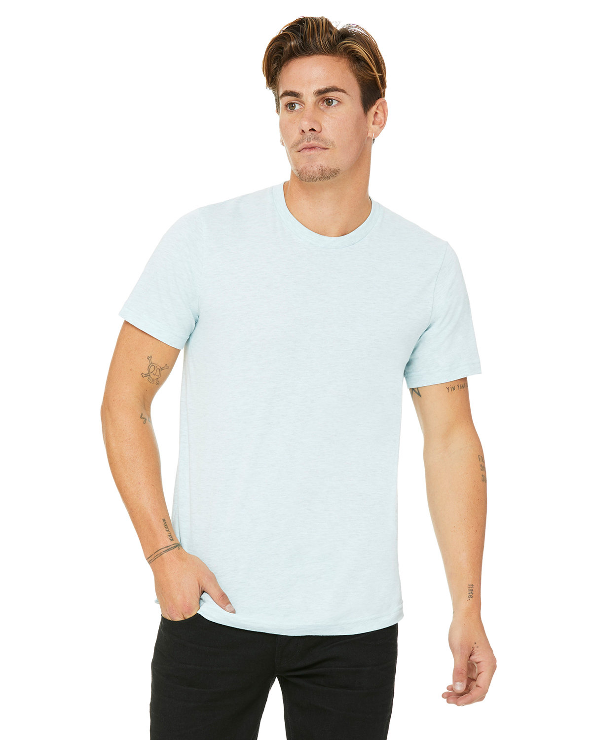 Bella + Canvas Unisex Heather CVC T-Shirt HTH PRSM ICE BLU