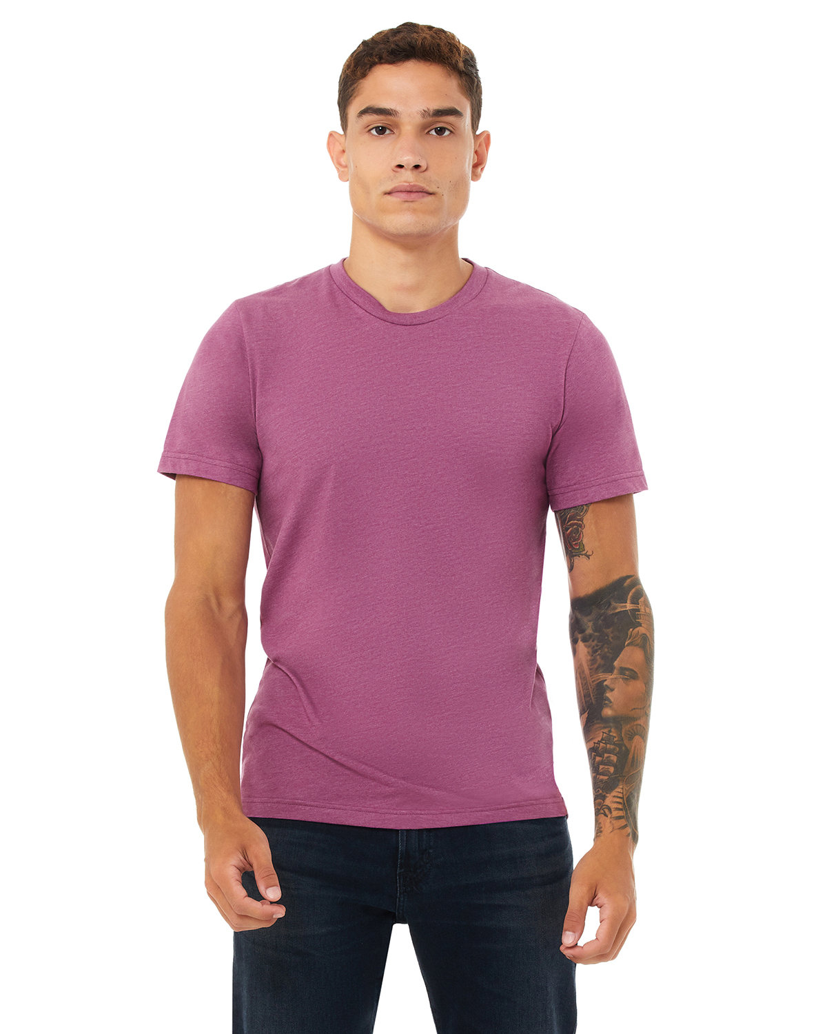 Bella + Canvas Unisex Heather CVC T-Shirt HEATHER MAGENTA