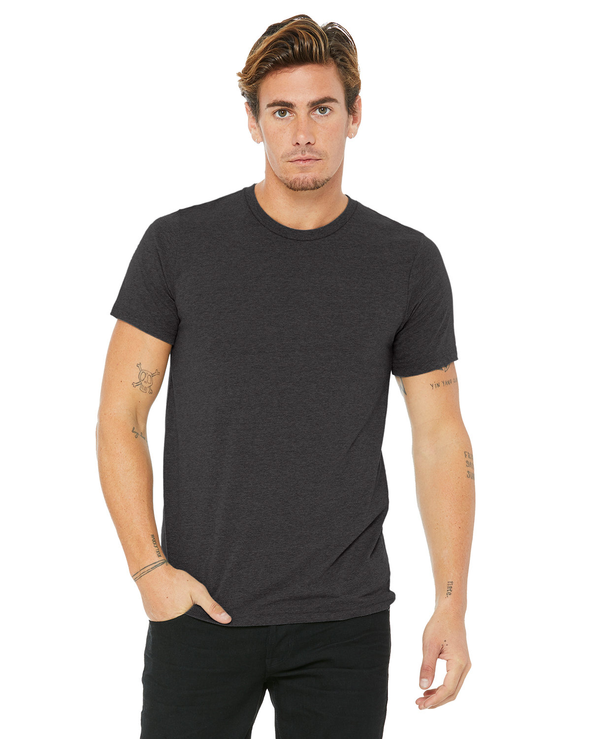Bella + Canvas Unisex Made In The USA Jersey T-Shirt DRK GREY HEATHER