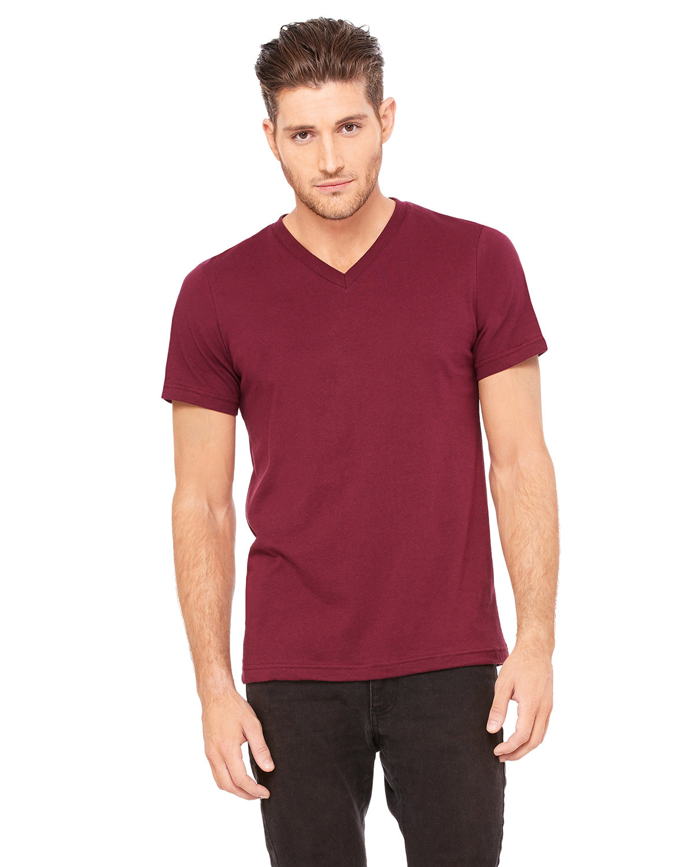 Bella + Canvas Unisex Jersey Short-Sleeve V-Neck T-Shirt MAROON