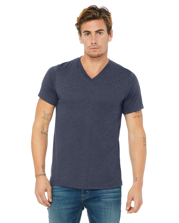Bella + Canvas Unisex Jersey Short-Sleeve V-Neck T-Shirt HEATHER NAVY