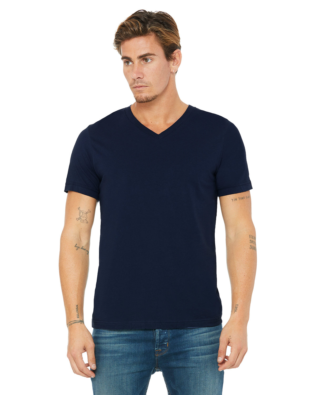 Bella + Canvas Unisex Jersey Short-Sleeve V-Neck T-Shirt NAVY