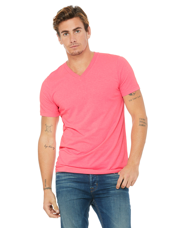 Bella + Canvas Unisex Jersey Short-Sleeve V-Neck T-Shirt NEON PINK