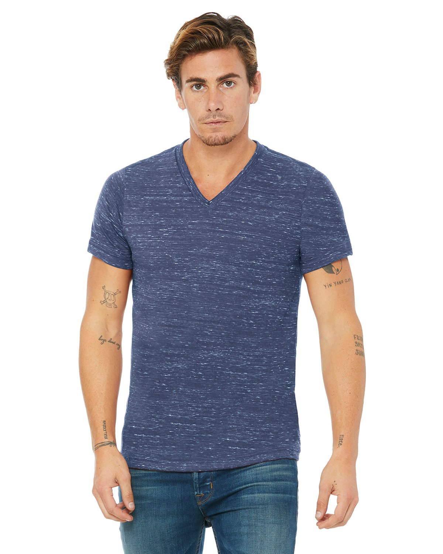 Bella + Canvas Unisex Jersey Short-Sleeve V-Neck T-Shirt NAVY MARBLE