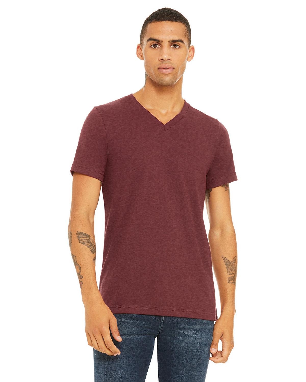 Bella + Canvas Unisex Jersey Short-Sleeve V-Neck T-Shirt HEATHER CARDINAL