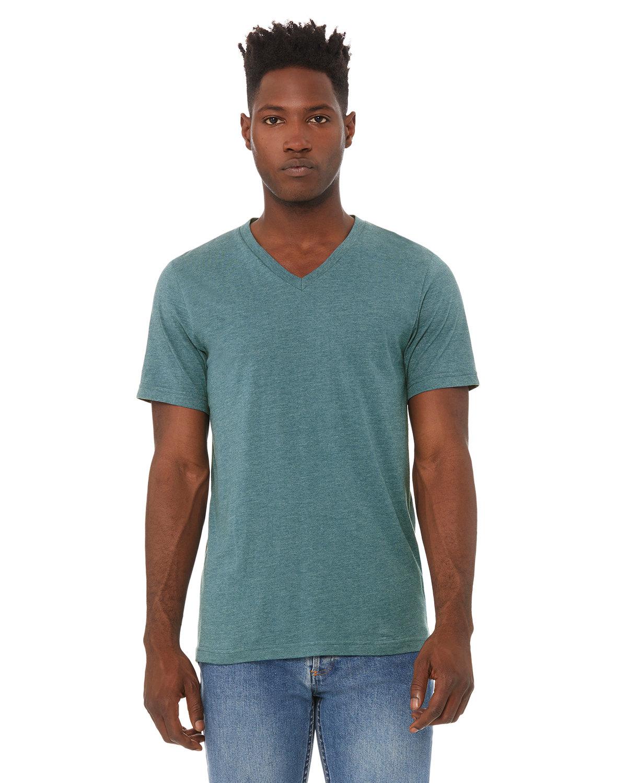 Bella + Canvas Unisex Jersey Short-Sleeve V-Neck T-Shirt HTHR DEEP TEAL