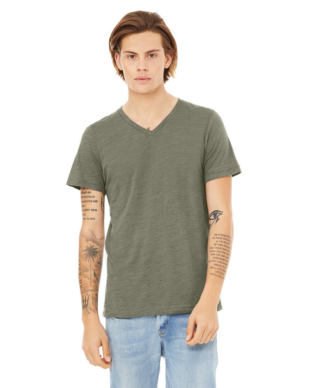 Bella + Canvas Unisex Jersey Short-Sleeve V-Neck T-Shirt OLIVE SLUB