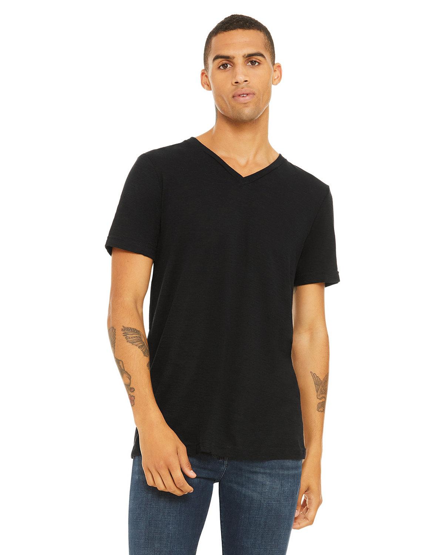 Bella + Canvas Unisex Jersey Short-Sleeve V-Neck T-Shirt SOLID BLACK SLUB