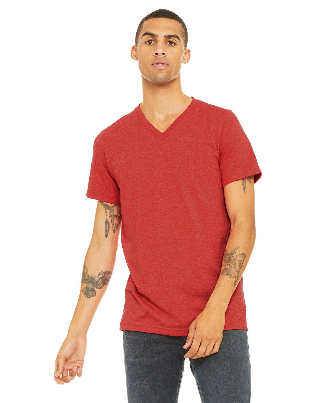 Bella + Canvas Unisex Jersey Short-Sleeve V-Neck T-Shirt HEATHER RED