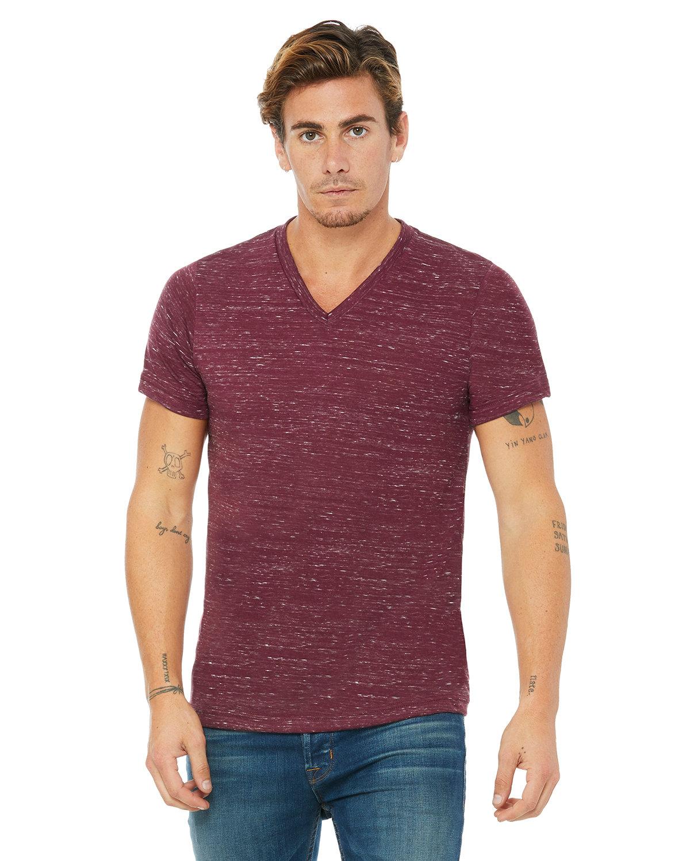 Bella + Canvas Unisex Jersey Short-Sleeve V-Neck T-Shirt MAROON MARBLE