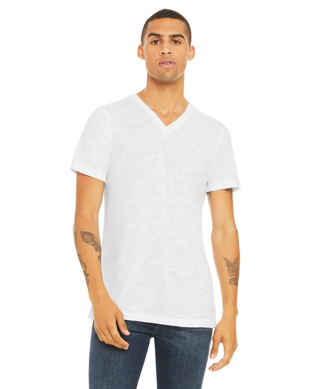 Bella + Canvas Unisex Jersey Short-Sleeve V-Neck T-Shirt WHITE SLUB
