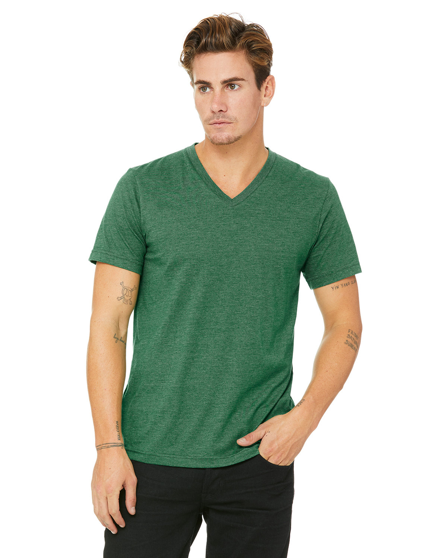 Bella + Canvas Unisex Jersey Short-Sleeve V-Neck T-Shirt HTHR GRASS GRN