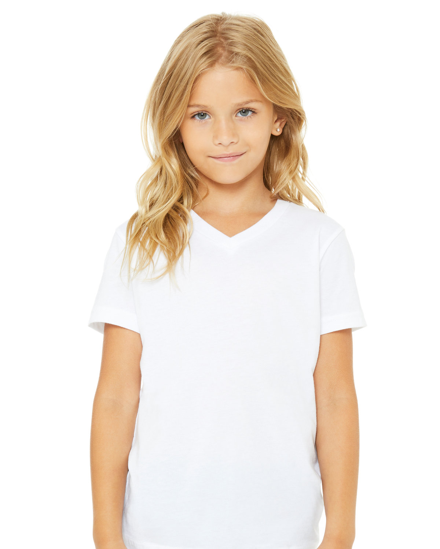 Bella + Canvas Youth Jersey Short-Sleeve V-Neck T-Shirt WHITE