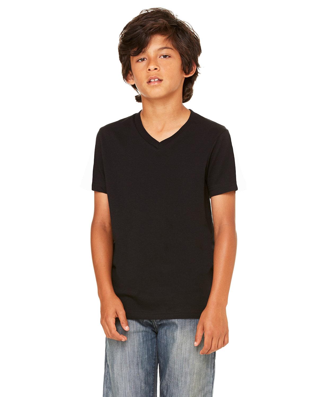 Bella + Canvas Youth Jersey Short-Sleeve V-Neck T-Shirt BLACK