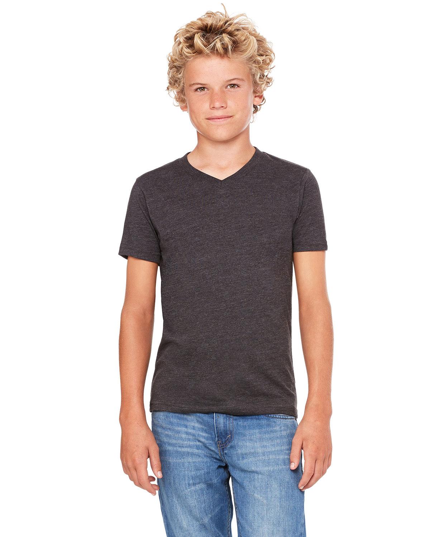 Bella + Canvas Youth Jersey Short-Sleeve V-Neck T-Shirt DRK GREY HEATHER