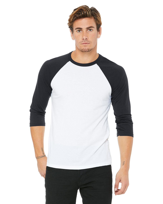 Bella + Canvas Unisex 3/4-Sleeve Baseball T-Shirt WHITE/ DARK GREY