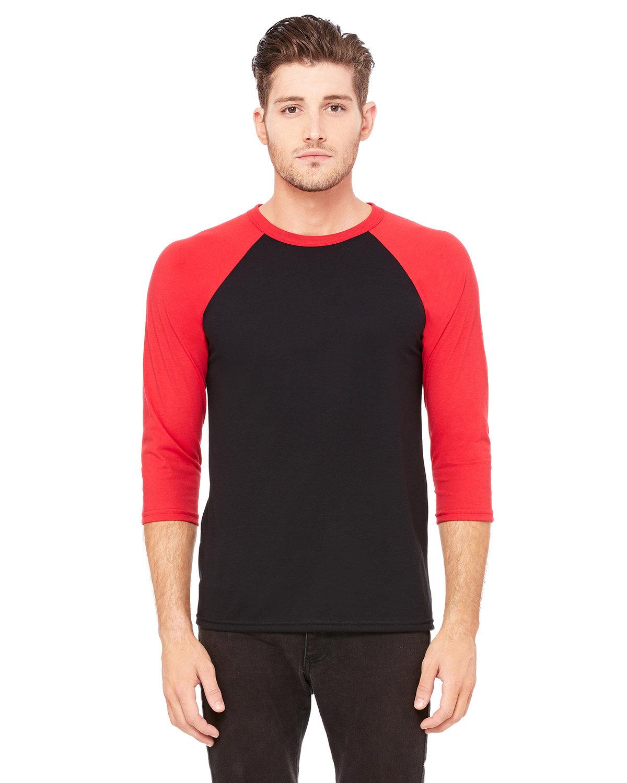Bella + Canvas Unisex 3/4-Sleeve Baseball T-Shirt BLACK/ RED