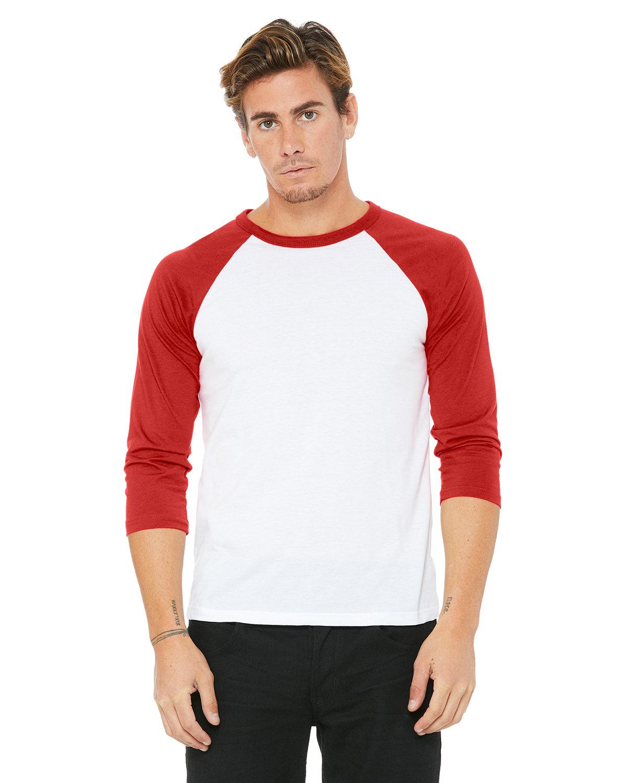 Bella + Canvas Unisex 3/4-Sleeve Baseball T-Shirt WHITE/ RED