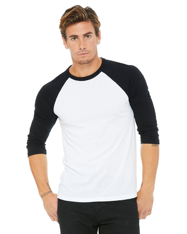 Bella + Canvas Unisex 3/4-Sleeve Baseball T-Shirt WHITE/ BLACK