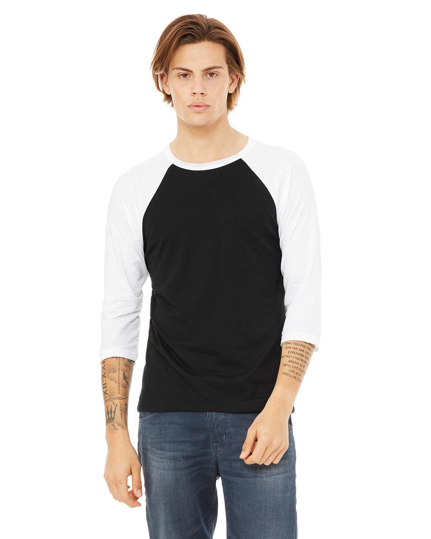 Bella + Canvas Unisex 3/4-Sleeve Baseball T-Shirt BLACK/ WHITE