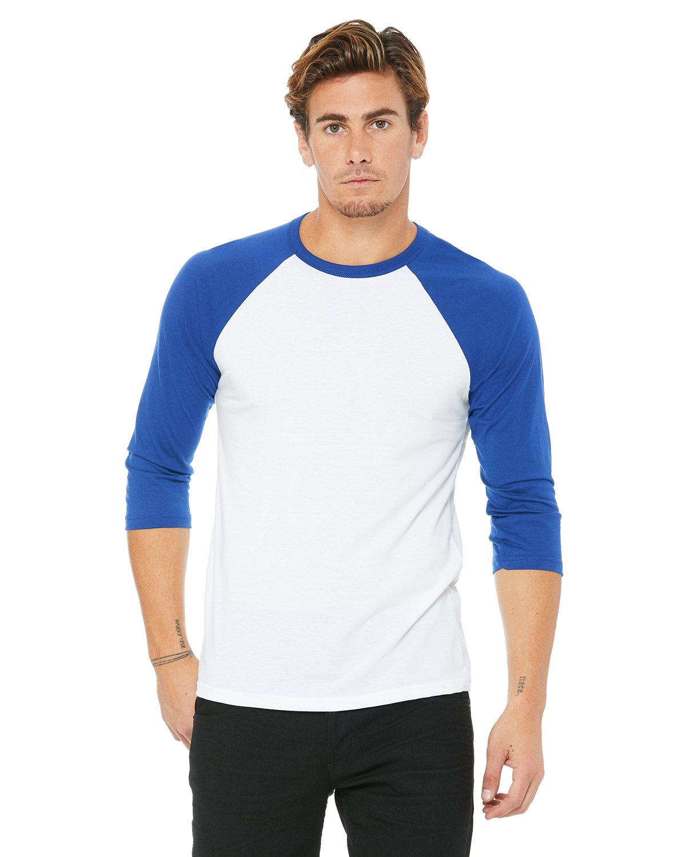 Bella + Canvas Unisex 3/4-Sleeve Baseball T-Shirt WHITE/ TR ROYAL