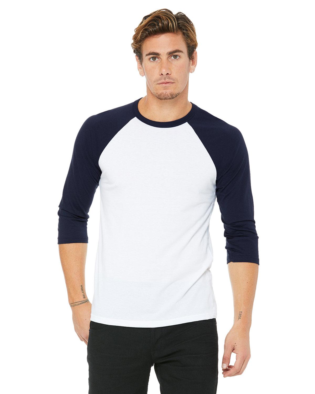 Bella + Canvas Unisex 3/4-Sleeve Baseball T-Shirt WHITE/ NAVY