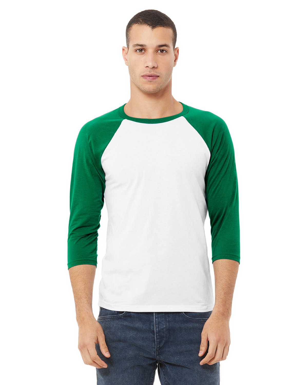 Bella + Canvas Unisex 3/4-Sleeve Baseball T-Shirt WHITE/ KELLY