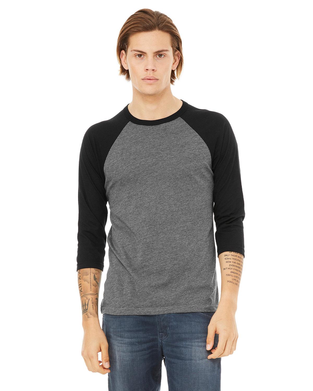 Bella + Canvas Unisex 3/4-Sleeve Baseball T-Shirt DEEP HEATHR/ BLK