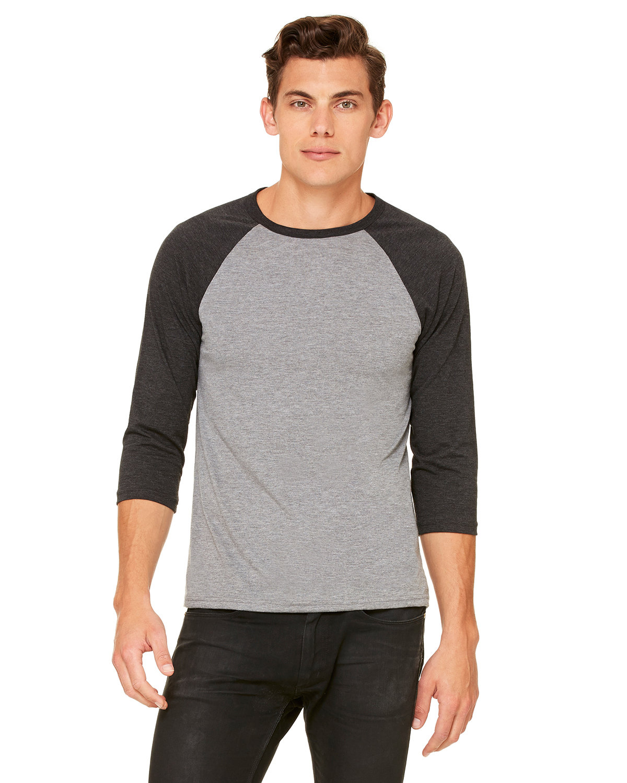 Bella + Canvas Unisex 3/4-Sleeve Baseball T-Shirt GRY/ CHR BLK TRB